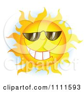 Clipart Grinning Sun Mascot With Sunglasses 2 Royalty Free Vector Illustration