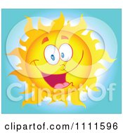 Clipart Cheerful Sun Mascot In The Sky 1 Royalty Free Vector Illustration
