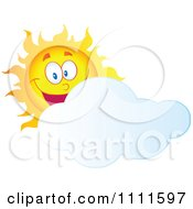 Clipart Cheerful Sun Mascot Behind A Cloud Royalty Free Vector Illustration
