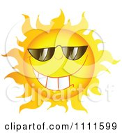 Clipart Grinning Sun Mascot With Sunglasses 1 Royalty Free Vector Illustration by Hit Toon
