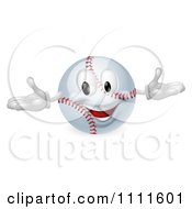 Clipart 3d Happy Baseball Mascot Royalty Free Vector Illustration by AtStockIllustration