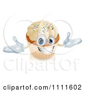 Clipart Happy Vanilla Cupcake Character With Sprinkles Royalty Free Vector Illustration by AtStockIllustration