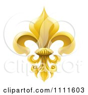 Clipart 3d Elegant Golden Fleur De Lis Lily Symbol Royalty Free Vector Illustration by AtStockIllustration