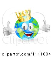 Clipart 3d Happy King Of The World Globe Holding Two Thumbs Up Royalty Free Vector Illustration