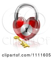 Clipart 3d Red Shiny Heart Padlock And Gold Key With A Reflection Royalty Free Vector Illustration
