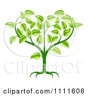 Clipart Green Seedling Plant With Foliage Forming A Heart Royalty Free Vector Illustration