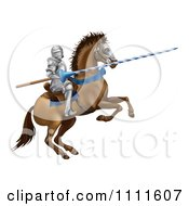 Clipart 3d Jousting Knight Holding A Lance On A Rearing Horse Royalty Free Vector Illustration