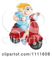Clipart Happy Blond Man Speeding On A Moped Royalty Free Vector Illustration by AtStockIllustration