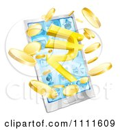 Clipart 3d Cell Phone With Coins And A Rupee Symbol Bursting From The Screen Royalty Free Vector Illustration