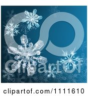 Clipart Blue Winter Background With 3d Icy Snowflakes And Copyspace Royalty Free Vector Illustration by AtStockIllustration