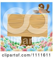 Robin Presenting On A Blank Wood Sign On A Tree Stump Over Spring Flowers