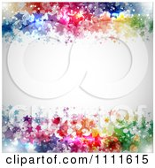 Clipart Gray Background Bordered With Colorful Stars Royalty Free Vector Illustration