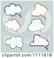 Clipart Polka Dot Speech Bubbles On Gray Royalty Free Vector Illustration by KJ Pargeter