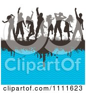 Clipart Silhouetted Dancers On A Black Grunge Bar And Blue Chevron Pattern Royalty Free Vector Illustration