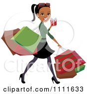 Clipart Happy Black Woman Carrying Bags And Christmas Shopping Royalty Free Vector Illustration