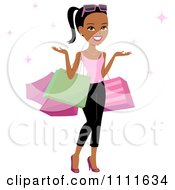 Clipart Happy Black Woman Shrugging With Shopping Bags On Her Arms And Pink Sparkles Royalty Free Vector Illustration by Monica #COLLC1111634-0132