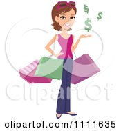 Clipart Happy White Woman Shopper With Bags And Floating Dollar Symbols Royalty Free Vector Illustration