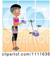 Clipart Fit Woman Lifting Dumbbells In An Urban Gym Royalty Free Vector Illustration