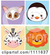 Clipart Cute Bush Baby Penguin Zebra And Lion Avatar Faces Royalty Free Vector Illustration