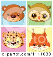 Clipart Cute Bear Owl Leopard And Squirrel Avatar Faces Royalty Free Vector Illustration