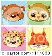 Cute Bear Owl Leopard And Squirrel Avatar Faces
