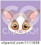 Clipart Cute Bush Baby Avatar Face On Purple Royalty Free Vector Illustration
