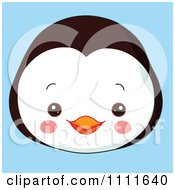Clipart Cute Penguin Avatar Face On Blue Royalty Free Vector Illustration