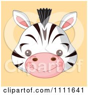 Clipart Cute Zebra Avatar Face On Orange Royalty Free Vector Illustration by Pushkin