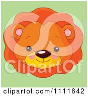 Clipart Cute Lion Avatar Face On Green Royalty Free Vector Illustration by Pushkin