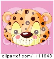 Clipart Cute Jaguar Avatar Face On Pink Royalty Free Vector Illustration by Pushkin