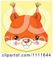 Clipart Cute Squirrel Avatar Face On Yellow Royalty Free Vector Illustration by Pushkin