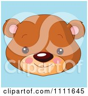 Clipart Cute Bear Avatar Face On Blue Royalty Free Vector Illustration