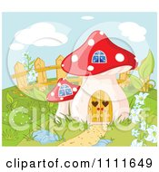 Clipart Mushroom House Gnome Home In A Garden Royalty Free Vector Illustration by Pushkin