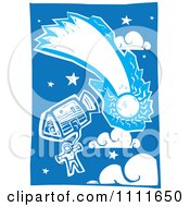 Clipart Astronaut In Space With A Comet And A Shuttle Blue And White Woodcut Royalty Free Vector Illustration by xunantunich