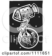 Clipart Astronaut In Space With Earth And A Shuttle Black And White Woodcut Royalty Free Vector Illustration