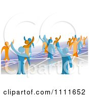 3d Blue And Orange People Waving And Standing On Network Connections 1