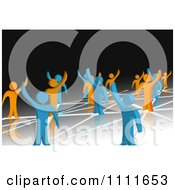 3d Blue And Orange People Waving And Standing On Network Connections 2