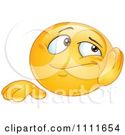 Clipart Bored Emoticon Resting His Cheek In His Hand Royalty Free Vector Illustration by yayayoyo