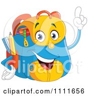 Clipart Happy School Backpack With An Idea Royalty Free Vector Illustration