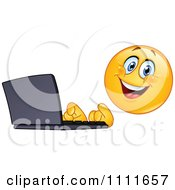 Clipart Typing Emoticon Using A Laptop Computer Royalty Free Vector Illustration by yayayoyo #COLLC1111657-0157