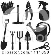 Clipart Black Silhouetted Gardening Tools Royalty Free Vector Illustration
