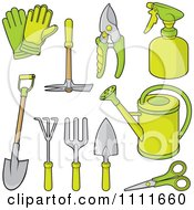 Clipart Green Gardening Tools Royalty Free Vector Illustration
