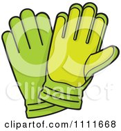 Clipart Pair Of Green Gardening Gloves Royalty Free Vector Illustration
