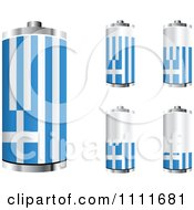 Clipart 3d Greek Flag Batteries At Different Charge Levels Royalty Free Vector Illustration