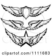 Clipart Grayscale Wing Badges With A Shield And Star Royalty Free Vector Illustration
