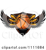 Clipart Eagle Talons Grabbing A Basketball And A Winged Shield Royalty Free Vector Illustration