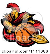 Clipart Spartan Warrior Mascot Stabbing A Basketball With His Golden Sword Royalty Free Vector Illustration