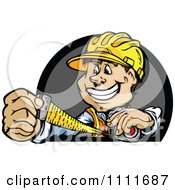 Happy Construction Worker Man Using Measuring Tape