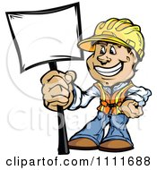 Clipart Happy Construction Worker Man Holding A Sign Royalty Free Vector Illustration by Chromaco
