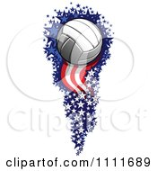Clipart Volleyball Flying With A Trail Of American Firework Stars And Stripes Royalty Free Vector Illustration